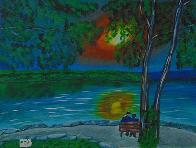 Water Painting - Shared Sunset Hamilton  by David Bigelow