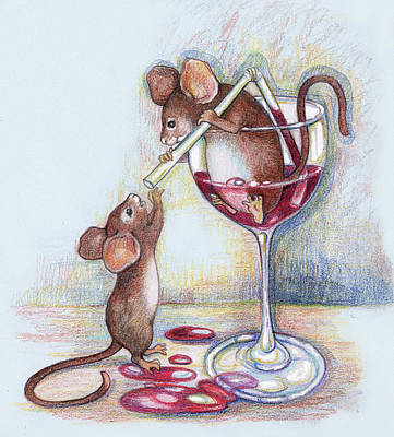 Mouse Mixed Media - Sharing A Good Red by Peggy Wilson