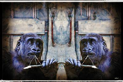 Monkey Digital Art - Sharing A Twig Treat by KJ DePace