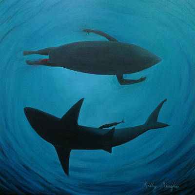 Under The Ocean Painting - Shark Bait by Kelly Meagher