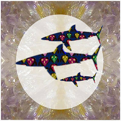 Rights Manages Images Mixed Media - Shark Fish Dangerous Painted Cartoon Face Link For Download Option Below Personal N Commercial Uses by Navin Joshi