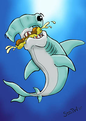 Sharks That Eat Cake Hammerhead Print by Sean Williamson