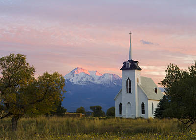 Shasta Alpenglow With Historic Church Print by Loree Johnson