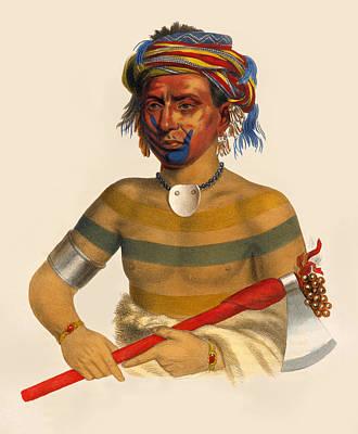 Drawing - Shau-hau-napo-tinia An Ioway Chief by Unknown