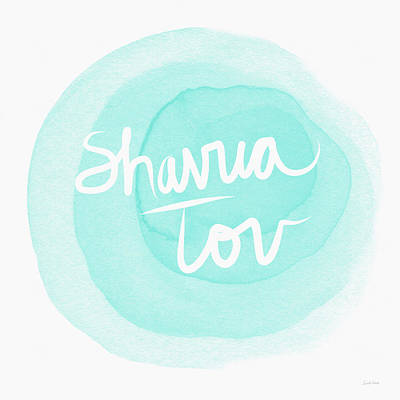 Shavua Tov Blue And White- Art By Linda Woods Print by Linda Woods