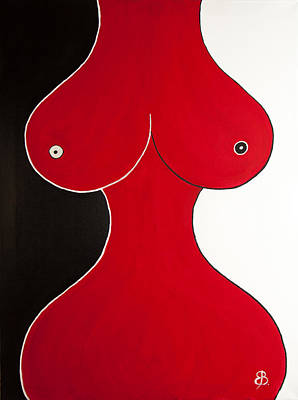 Erotic Painting - She #4, Finding The Balance, Original by Eva Vladi