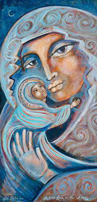 Blessed Mother Painting - She Holds Love In Her Arms by Shiloh Sophia McCloud