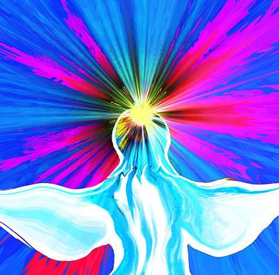 Woman Digital Art - She Is My Blue Sky Shining Angel by Abstract Angel Artist Stephen K