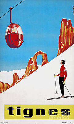She Skis Alone Snow Skiing Print by Tina Lavoie