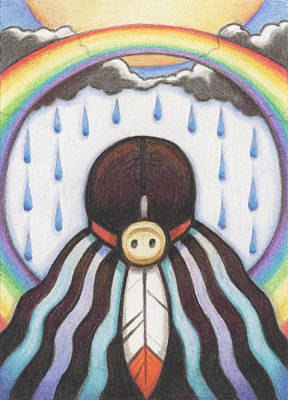 Prayer Drawing - She Who Brings The Rain by Amy S Turner