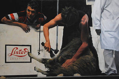 Painting - Shearing by Harry Robertson