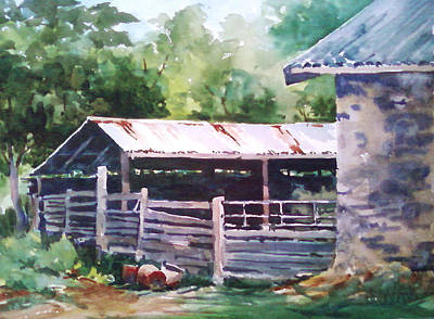 Barking Painting - Shed-barking Rock Winery by Tina Bohlman