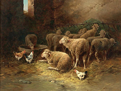 Charles Emile Jacque Painting - Sheep And Chickens In A Barn by Charles-Emile Jacque