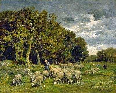 Sheep In A Pasture Print by Charles Jacque