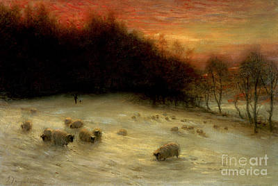Sheep Painting - Sheep In A Winter Landscape Evening by Joseph Farquharson