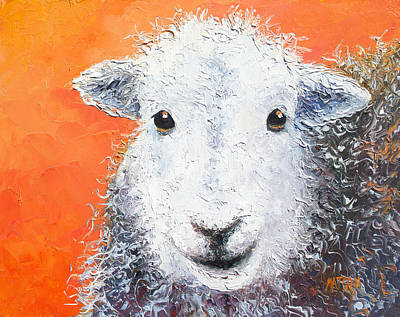 Sheep Painting On Orange Background Print by Jan Matson