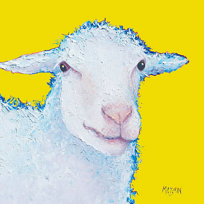 Sheep Painting On Yellow Background Print by Jan Matson