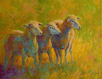 Llama Painting - Sheep Trio by Marion Rose