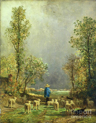 Look Painting - Sheep Watching A Storm by Constant-Emile Troyon