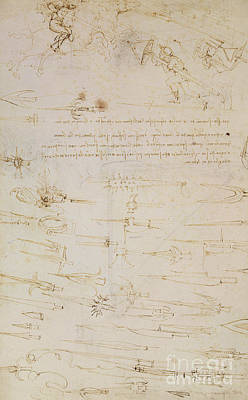 Pen And Ink Drawing Drawing - Sheet Of Studies Of Foot Soldiers And Horsemen In Combat, And Halbards by Leonardo Da Vinci