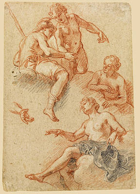 Drawing - Sheet Of Studies Of Four Figures by Charles De La Fosse