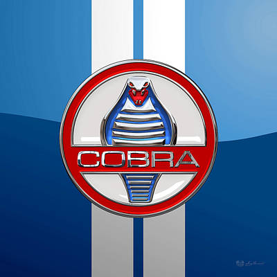 Shelby Ac Cobra - Original 3d Badge On Blue And White Original by Serge Averbukh