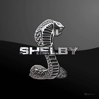 Shelby Cobra - 3d Badge On Black Original by Serge Averbukh