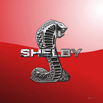 Shelby Cobra - 3d Badge On Red Original by Serge Averbukh