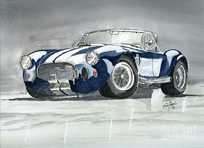 Cobra Drawing - Shelby Cobra by Eva Ason