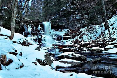 Sheldon Reynolds Falls - Winter Print by Rich Walter