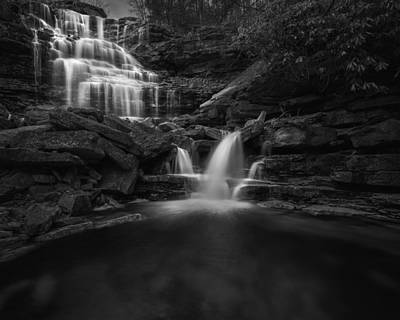 Sheldons Falls Black And White Print by Bill Wakeley