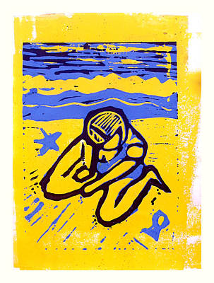 Lino Mixed Media - Shellie - The Yellow Sand by Adam Kissel