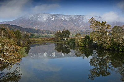 Shenandoah River South Fork - Snow On The Mountains - Virginia Print by Brendan Reals