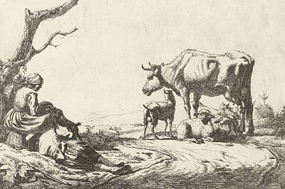 Shepherd And Shepherdess With Cattle Print by Adriaen van de Velde