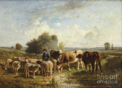 Shepherd With His Sheep Print by Celestial Images