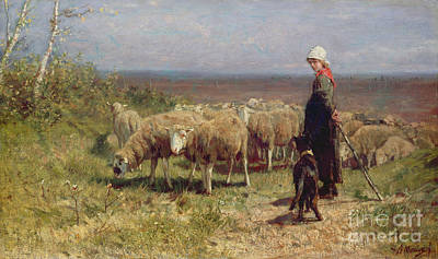 Meadow Scene Painting - Shepherdess by Anton Mauve