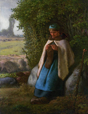 Agriculture Painting - Shepherdess Seated On A Rock by Jean-Francois Millet