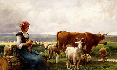 Goat Painting - Shepherdess With Cows And Goats by Julien Dupre