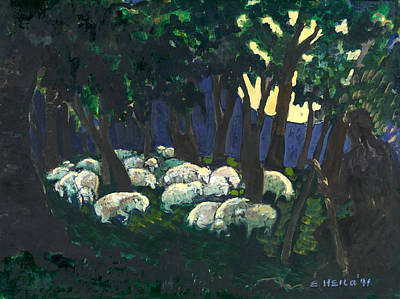 Sheep Painting - Shepherds Watch by Ethel Vrana
