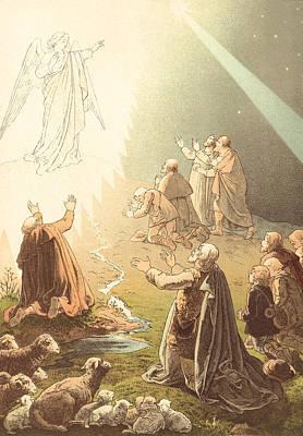 Angels Drawing - Shepherds Watching Their Sheep by Paul Victor Mohn