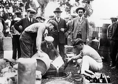 Sheriff And Feds Destroy Liquor - Prohibition  1925 Print by Daniel Hagerman