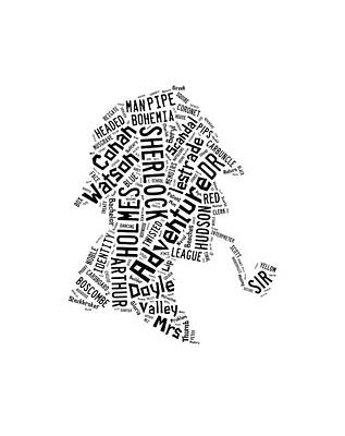 Victorian Drawing - The Great Detective Word Cloud by Philip Ralley