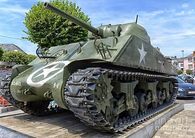 101st Airborne Division Photograph - Sherman Tank In Bastogne, Belgium by Ivan Batinic