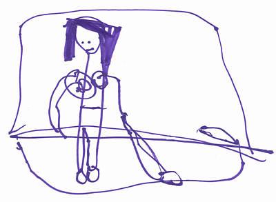 Basquiat Drawing - She's Vacuuming In Her Bra by Junicorn T