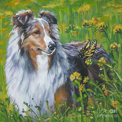 Shetland Sheepdog Wildflowers Print by L A Shepard