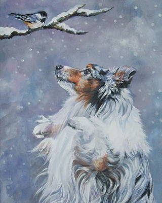 Shetland Sheepdog With Chickadee Print by Lee Ann Shepard