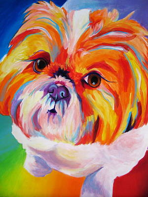 Small Dogs Painting - Shih Tzu - Divot by Alicia VanNoy Call