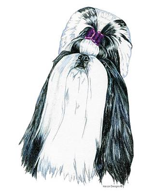 Pets Drawing - Shih Tzu Black And White by Kathleen Sepulveda