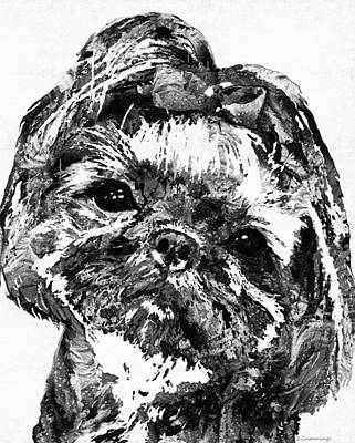 Custom Dog Portrait Painting - Shih Tzu Dog Art In Black And White By Sharon Cummings by Sharon Cummings