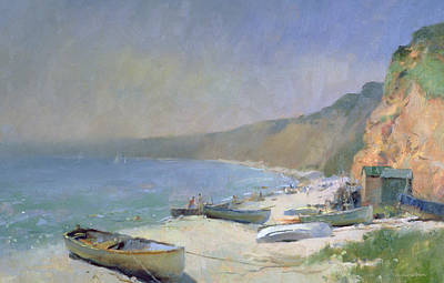Tranquil Painting - Shimmering Beach - Budleigh Salterton by Trevor Chamberlain